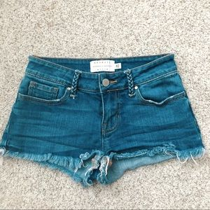 Kendall & Kylie Medium Wash Cutoff Denim Shorts